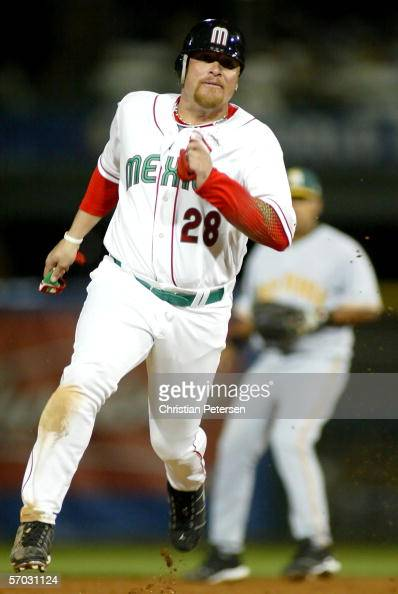 Karim Garcia of Team Mexico runs the bases against Team South Africa during the Round 1 Pool B Game of the World Baseball Classic on March 8 2006 at...
