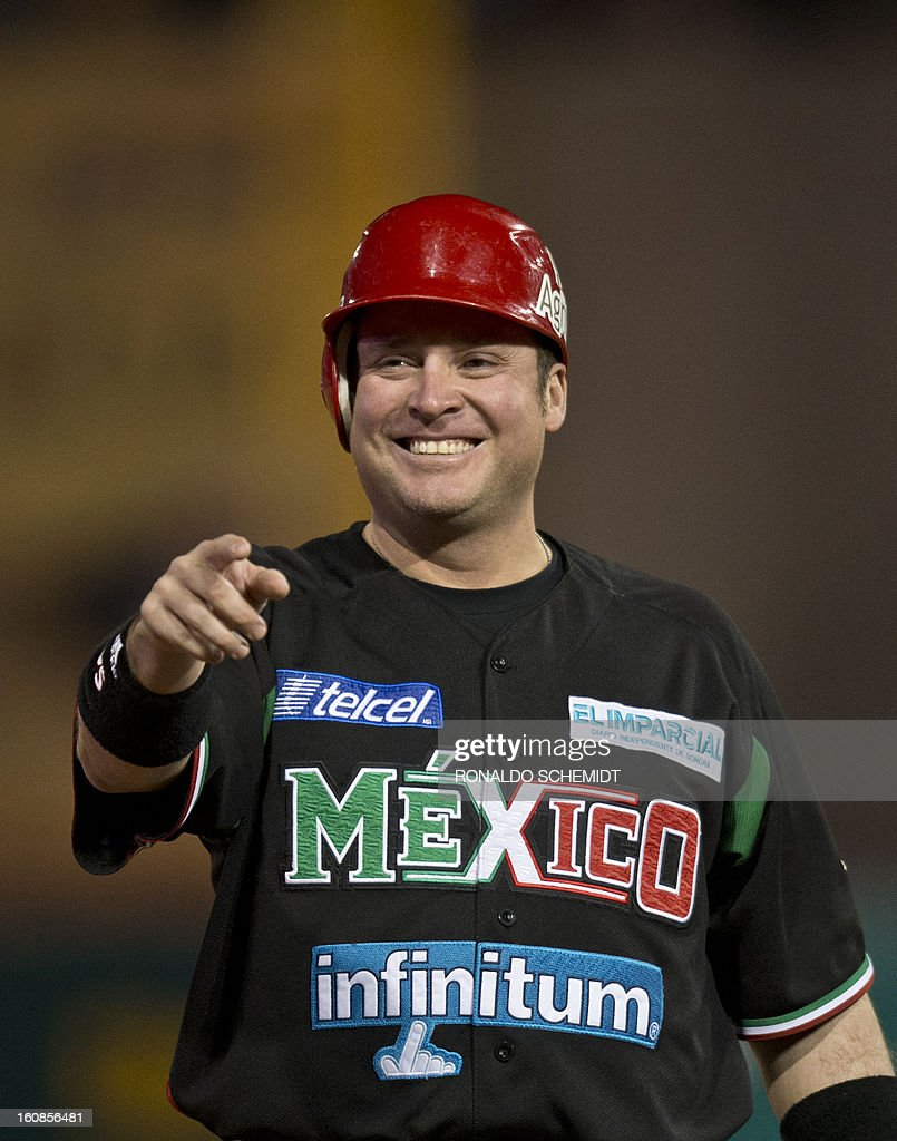 Karim Garcia of Yaquis de Obregon of Mexico gestures during their match against Criollos de Caguas of Puerto Rico during the 2013 Caribbean baseball series on February 6, 2013 in Hermosillo in the northern Mexican state of Sonora. The Mexican team won 10-0. AFP PHOTO/Ronaldo Schemidt
