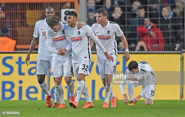 Karim Guede Mike Frantz Vincenzo Grifo Florian Niederlechner and Pascal Stenzel of Freiburg celebrate during the Second Bundesliga match between...