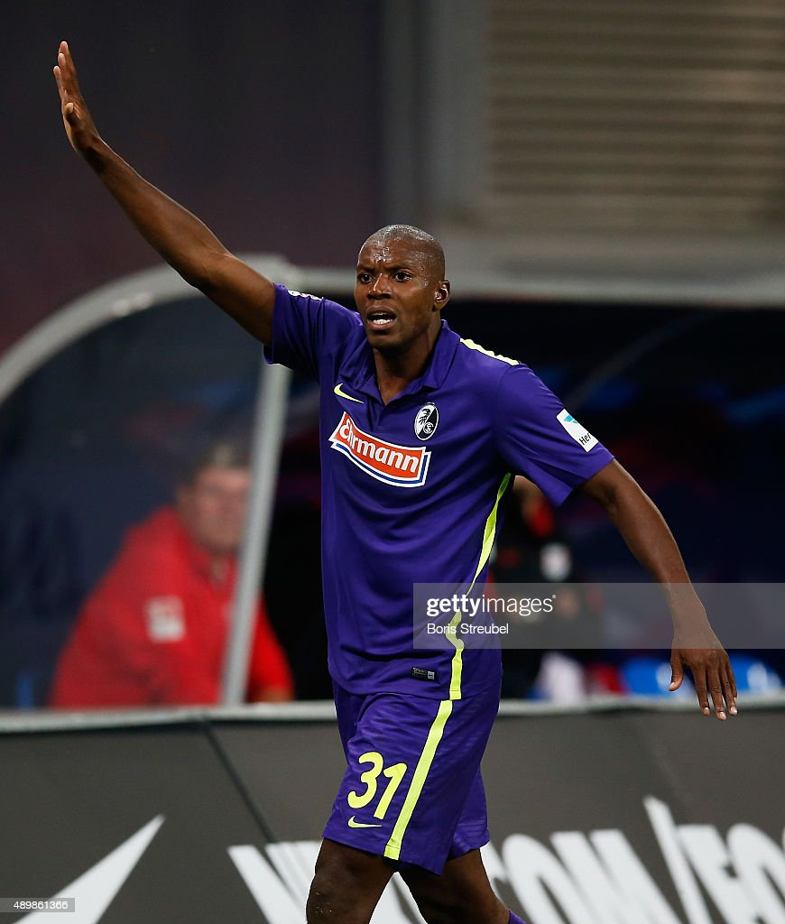 Karim Guede of Freiburg gestures during the Second Bundesliga match between RB Leipzig and SC Freiburg at Red Bull Arena on September 24, 2015 in Leipzig, Germany.