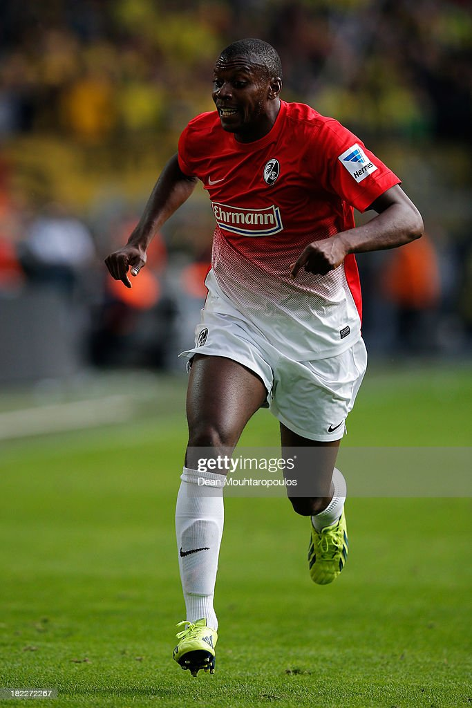 Karim Guede of Freiburg in action during the Bundesliga match between Borussia Dortmund and SC Freiburg at Signal Iduna Park on September 28, 2013 in Dortmund, Germany.