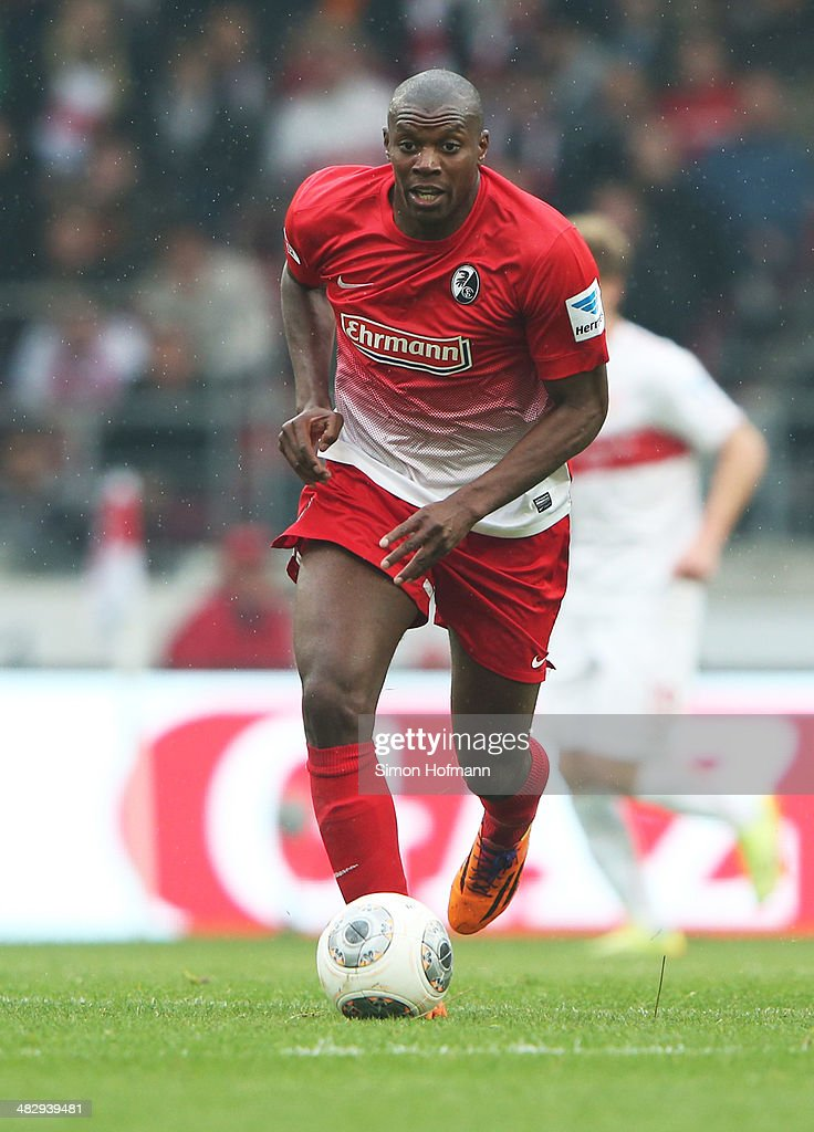Karim Guede of Freiburg runs with the ball during the Bundesliga match between VfB Stuttgart and SC Freiburg at Mercedes-Benz Arena on April 5, 2014 in Stuttgart, Germany.