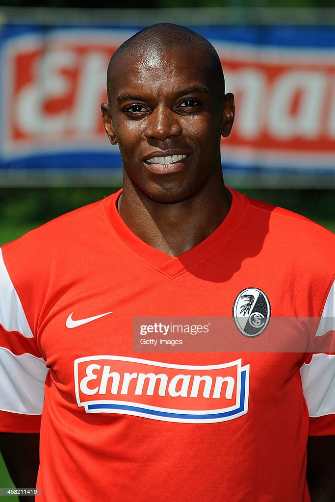 Karim Guede poses during the team presentation of SC Freiburg at MAGE SOLAR Stadium on August 1, 2014 in Freiburg im Breisgau, Germany.