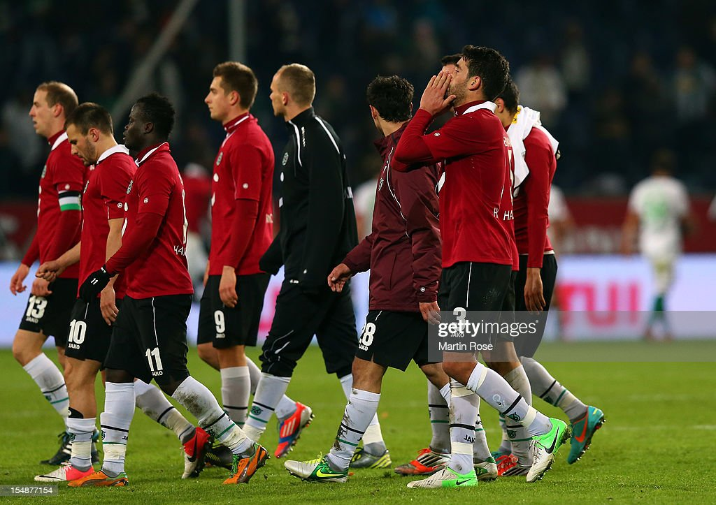 Karim Haggui of Hannover looks dejected after the Bundesliga match between Hannover 96 and Borussia Moenchengladbach at AWD Arena on October 28 2012...
