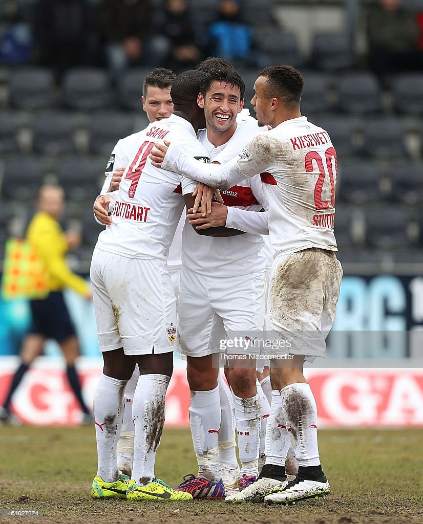 Karim Haggui of Stuttgart celebrates with his teammates during the Third League match between VfB Stuttgart II and SG SonnenhofGrossaspach at...