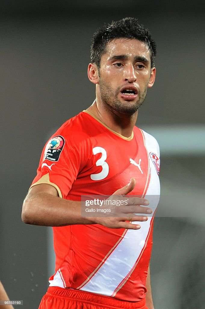 Karim Haggui of Tunisia looks on during the Africa Cup of Nations match between Zambia and Tunisia from the Alto da Chela Stadium on January 13 2010...