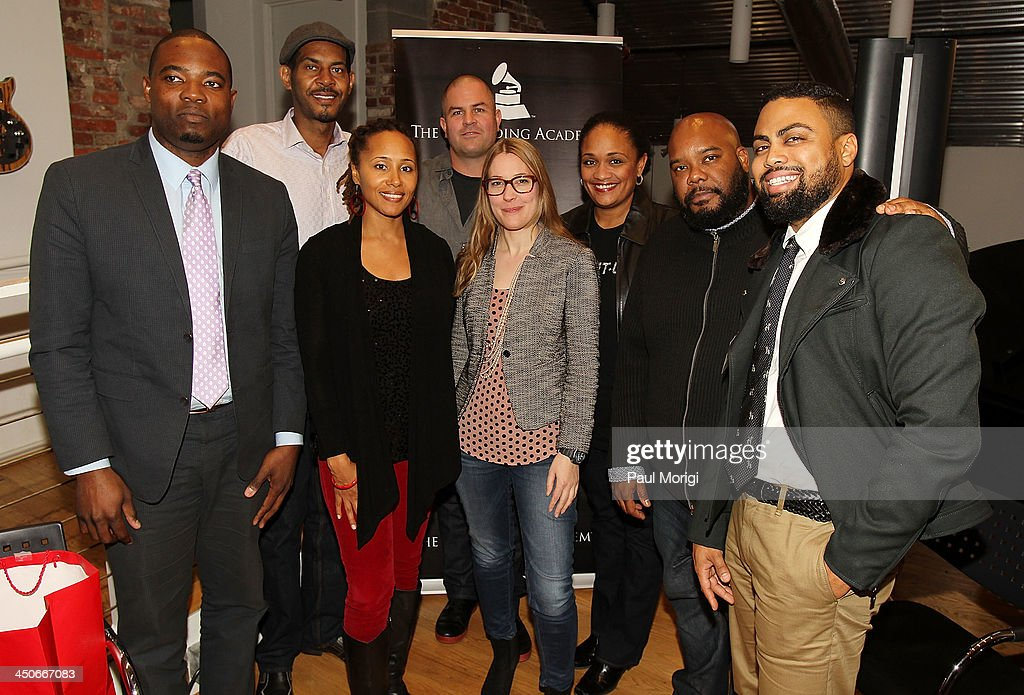 Karim Lateef, Marketing Director- Washington DC & Maryland at Diageo North America, Lorenzo Johnson, musician & producer sponsored by Hammond Organ, PreSonus Audio and Whirlwind USA, Wendi Cherry of the GRAMMYS, Jeff Aitkin, KIND, Roxy Philson, Global Creative Director at ONE, Vikki Johnson, BET, Kokayi and Jason Bass, Multicultural Sales Representative at MillerCoors, pose for a photo at Business, Beats and Inspiration: Bands & Brands at The Gibson Guitar Center on November 19, 2013 in Washington, DC.