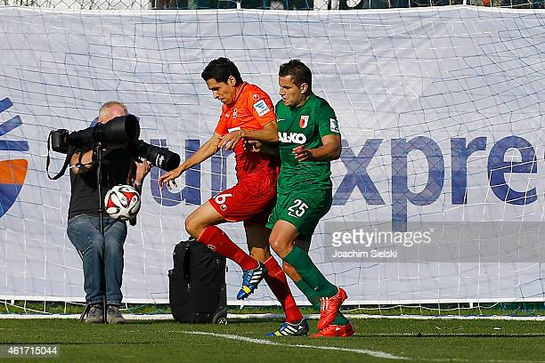 Karim Matmour and Raul Bobadilla during a freindly match between FC Kaiserslautern and FC Augsburg on January 18 2015 in Belek Turkey