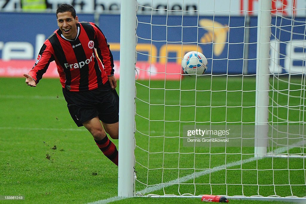 <a gi-track='captionPersonalityLinkClicked' href=/galleries/search?phrase=Karim+Matmour&family=editorial&specificpeople=741965 ng-click='$event.stopPropagation()'>Karim Matmour</a> of Frankfurt celebrates after scoring his team's fourth goal during the Second Bundesliga match between Eintracht Frankfurt and Alemannia Aachen at Commerzbank Arena on November 20, 2011 in Frankfurt am Main, Germany.