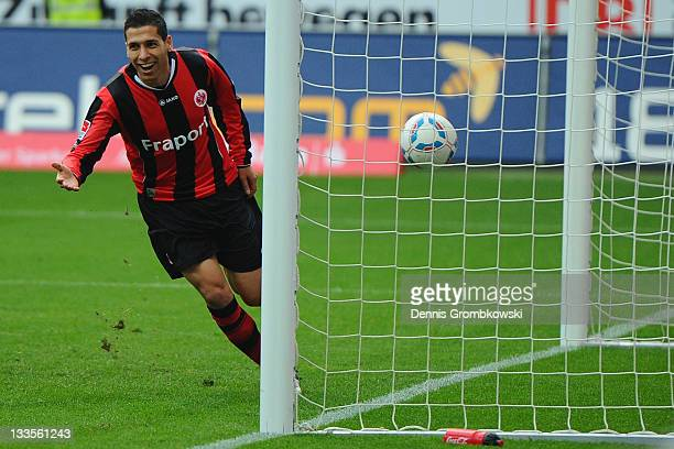 Karim Matmour of Frankfurt celebrates after scoring his team's fourth goal during the Second Bundesliga match between Eintracht Frankfurt and...