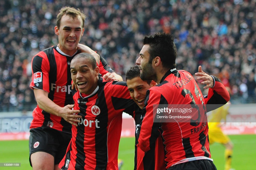 <a gi-track='captionPersonalityLinkClicked' href=/galleries/search?phrase=Karim+Matmour&family=editorial&specificpeople=741965 ng-click='$event.stopPropagation()'>Karim Matmour</a> (2nd R) of Frankfurt celebrates with team mates after scoring his team's fourth goal during the Second Bundesliga match between Eintracht Frankfurt and Alemannia Aachen at Commerzbank Arena on November 20, 2011 in Frankfurt am Main, Germany.