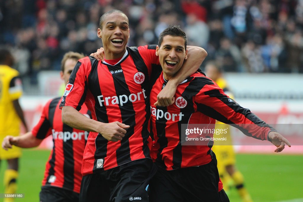 <a gi-track='captionPersonalityLinkClicked' href=/galleries/search?phrase=Karim+Matmour&family=editorial&specificpeople=741965 ng-click='$event.stopPropagation()'>Karim Matmour</a> (R) of Frankfurt celebrates with team mates after scoring his team's fourth goal during the Second Bundesliga match between Eintracht Frankfurt and Alemannia Aachen at Commerzbank Arena on November 20, 2011 in Frankfurt am Main, Germany.