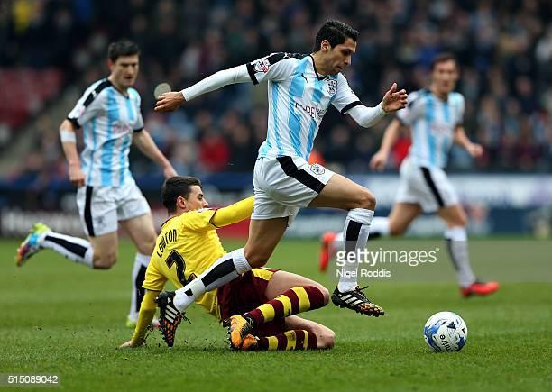 Karim Matmour of Huddersfield Town challenged by Matt Lowton of Burnley during the Sky Bet Championship match between Huddersfield Town and Burnley...
