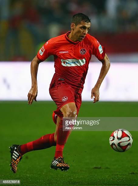 Karim Matmour of Kaiserslautern controles the ball during the Second Bundesliga match between 1 FC Kaiserslautern and FSV Frankfurt at...