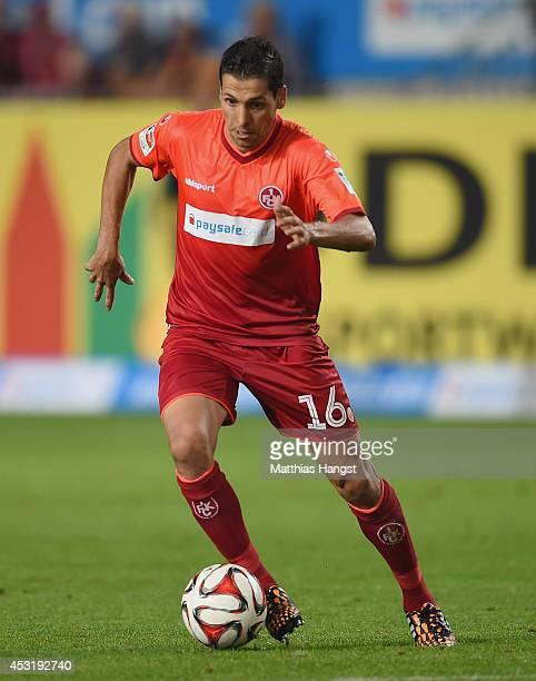 Karim Matmour of Kaiserslautern holds the ball during the Second Bundesliga match between 1 FC Kaiserslautern and TSV 1860 Muenchen at...