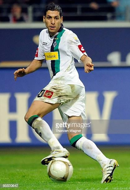 Karim Matmour of Moenchengladbach runs with the ball during the Bundesliga match between Eintracht Frankfurt and Borussia Moenchengladbach at...