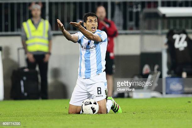Karim Matmour of Muenchen gesticulated during the Second Bundesliga match between FC St Pauli and TSV 1860 Muenchen at Millerntor Stadium on...