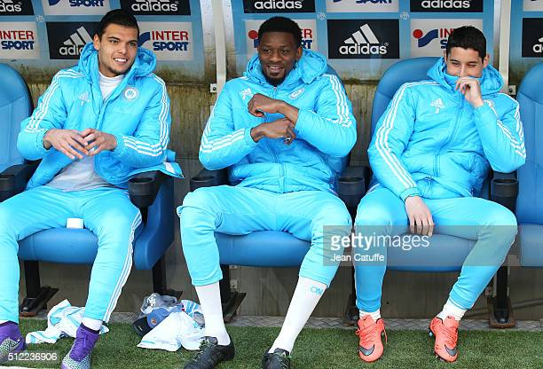 Karim Rekik and Abou Diaby and Abdelaziz Barrada of OM seat on the bench during the French Ligue 1 match between Olympique de Marseille and AS...