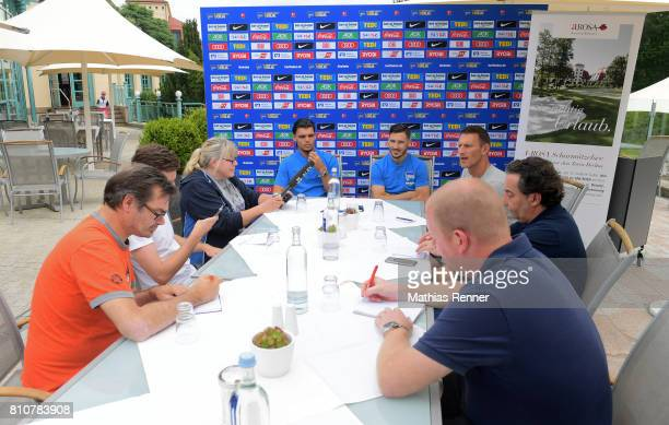 Karim Rekik and Mathew Leckie beim Interview during the first day of the training camp of Hertha BSC on July 8 2017 in Bad Saarow Germany