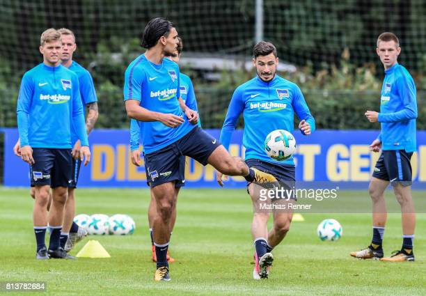 Karim Rekik and Mathew Leckie during the sixth day of the training camp of Hertha BSC on july 13 2017 in Bad Saarow Germany