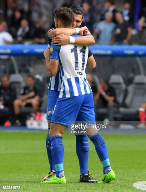 Karim Rekik and Mathew Leckie of Hertha BSC celebrate after scoring the 10 during the game between Hertha BSC and dem VfB Stuttgart on August 19 2017...