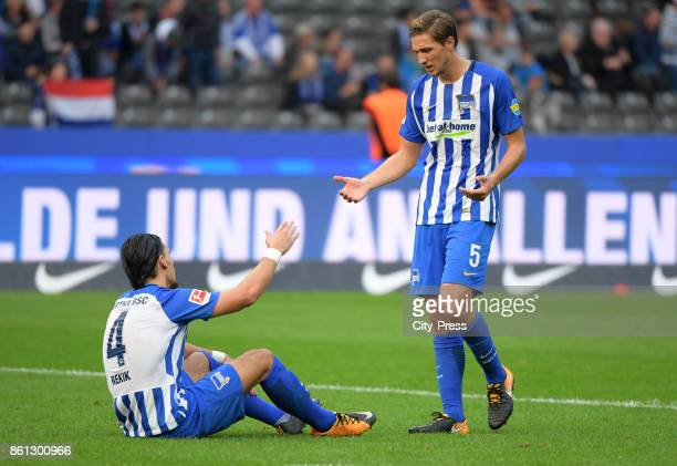 Karim Rekik and Niklas Stark of Hertha BSC after the game between Hertha BSC and Schalke 04 on october 14 2017 in Berlin Germany