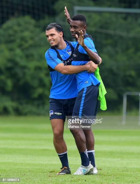 Karim Rekik and Salomon Kalou of Hertha BSC during the training camp of Hertha BSC on july 10 2017 in Bad Saarow Germany