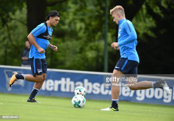 Karim Rekik and Sinan Kurt of Hertha BSC during the training on July 5 2017 in Berlin Germany