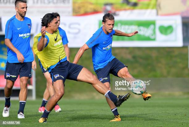 Karim Rekik and Valentin Stocker of Hertha BSC during the training camp on august 31 2017 in Schladming Austria
