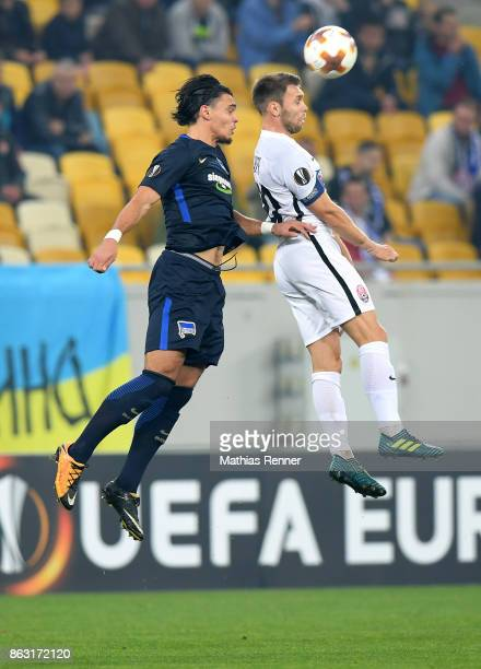 Karim Rekik of Hertha BSC and Maksym Lunyov of FC Zorya Luhansk during the Europa League group J game between Zorya Luhansk against Hertha BSC on...
