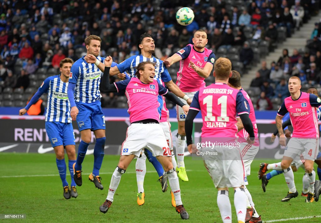 Karim Rekik of Hertha BSC heads the goal to 2:0 during the game between Hertha BSC and Hamburger SV on October 28, 2017 in Berlin, Germany.