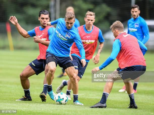 Karim Rekik Peter Pekarik and Maximilian Mittelstaedt during the sixth day of the training camp of Hertha BSC on july 13 2017 in Bad Saarow Germany