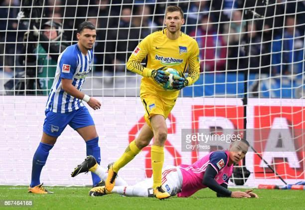 Karim Rekik Rune Almenning Jarstein of Hertha BSC and Bobby Wood of Hamburger SV during the game between Hertha BSC and Hamburger SV on October 28...