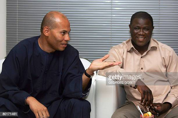 Karim Wade son of Senegalese president Abdoulaye Wade and president of ANOCI and Abdoulaye Balde excecutive secretary of ANOCI give a press...