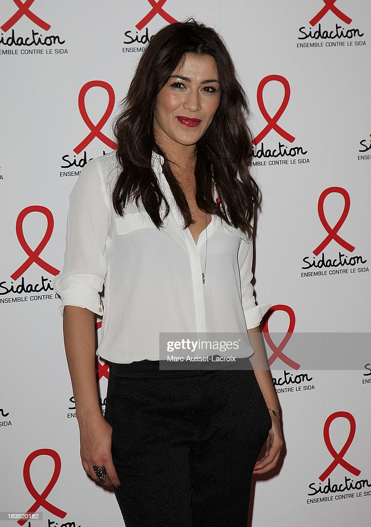 Karima Charni poses during the Sidaction 2013 - Photocall at Musee du Quai Branly on March 11, 2013 in Paris, France.