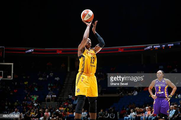 Karima Christmas of the Tulsa Shock shoots a free throw against the Los Angeles Sparks in a WNBA game on July 11 2015 at the BOK Center in Tulsa...