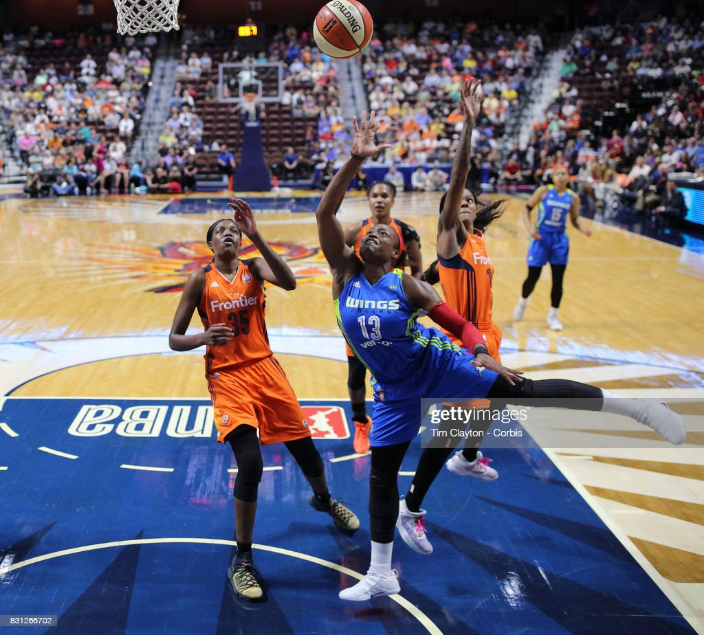 Karima Christmas-Kelly #13 of the Dallas Wings drives to the basket during the Connecticut Sun Vs Dallas Wings, WNBA regular season game at Mohegan Sun Arena on August 12th, 2017 in Uncasville, Connecticut.