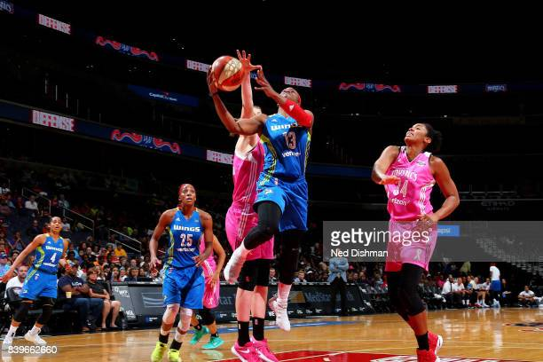Karima ChristmasKelly of the Dallas Wings goes for a lay up during the game against the Washington Mystics during a WNBA game on August 26 2017 at...