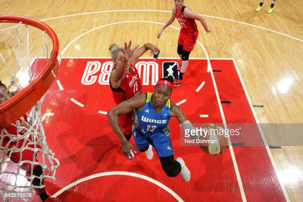 Karima ChristmasKelly of the Dallas Wings goes for a lay up during the game against the Washington Mystics during Round One of the 2017 WNBA Playoffs...