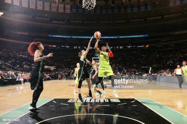 Karima ChristmasKelly of the Dallas Wings goes up for a shot during a game against the New York Liberty on June 2 2017 at Madison Square Garden in...