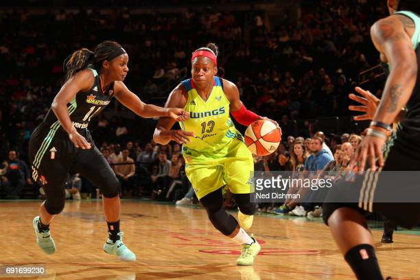 Karima ChristmasKelly of the Dallas Wings handles the ball during a game against the New York Liberty on June 2 2017 at Madison Square Garden in New...