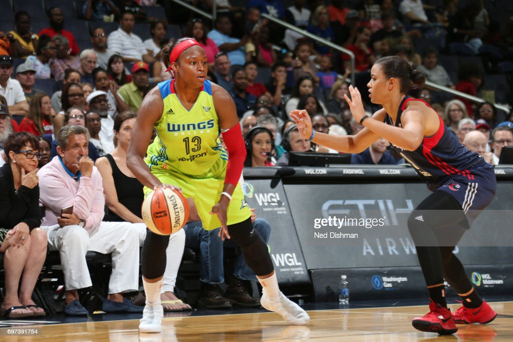 Karima Christmas-Kelly #13 of the Dallas Wings handles the ball during a game against the Washington Mystics on June 18, 2017 at the Verizon Center in Washington, DC.