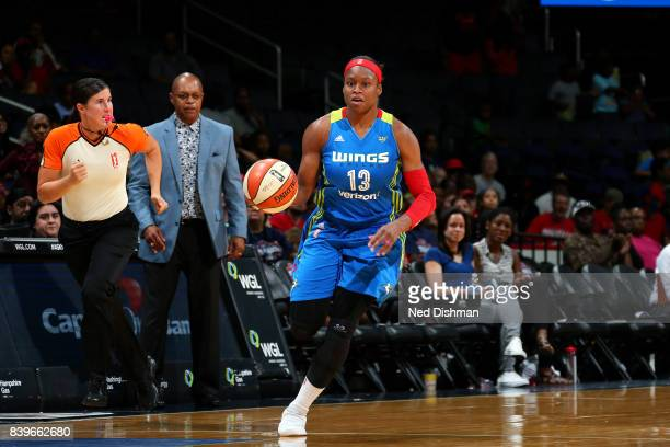 Karima ChristmasKelly of the Dallas Wings handles the ball during the game against the Washington Mystics during a WNBA game on August 26 2017 at the...