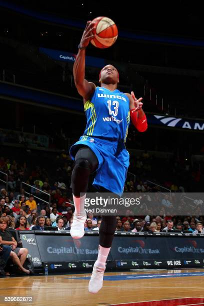 Karima ChristmasKelly of the Dallas Wings shoots a lay up during the game against the Washington Mystics during a WNBA game on August 26 2017 at the...
