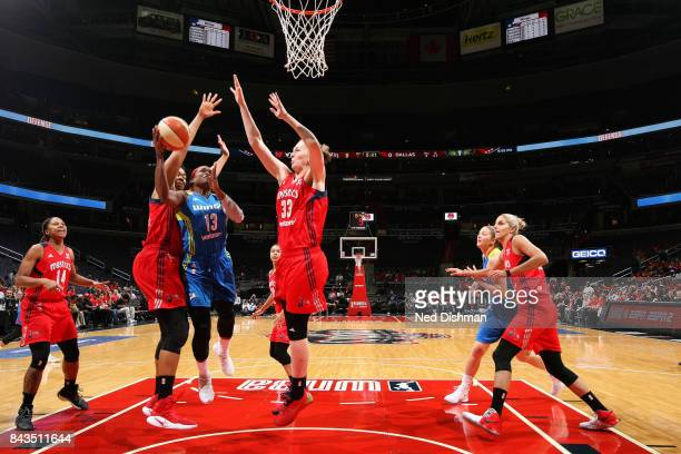 Karima ChristmasKelly of the Dallas Wings shoots a lay up during the game against the Washington Mystics during Round One of the 2017 WNBA Playoffs...