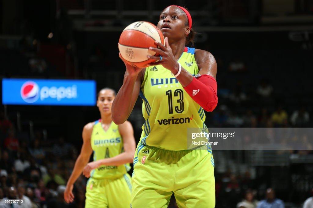 Karima Christmas-Kelly shoots a free throw against the Washington Mystics on June 18, 2017 at the Verizon Center in Washington, DC.