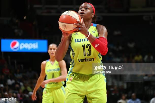 Karima ChristmasKelly shoots a free throw against the Washington Mystics on June 18 2017 at the Verizon Center in Washington DC NOTE TO USER User...