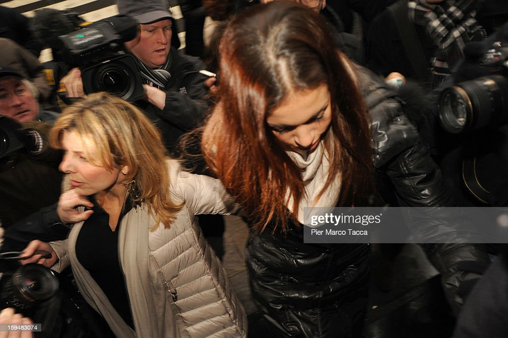 Karima El Mahroug arrives to testify at Silvio Berlusconi trial on January 14 2013 in Milan Italy