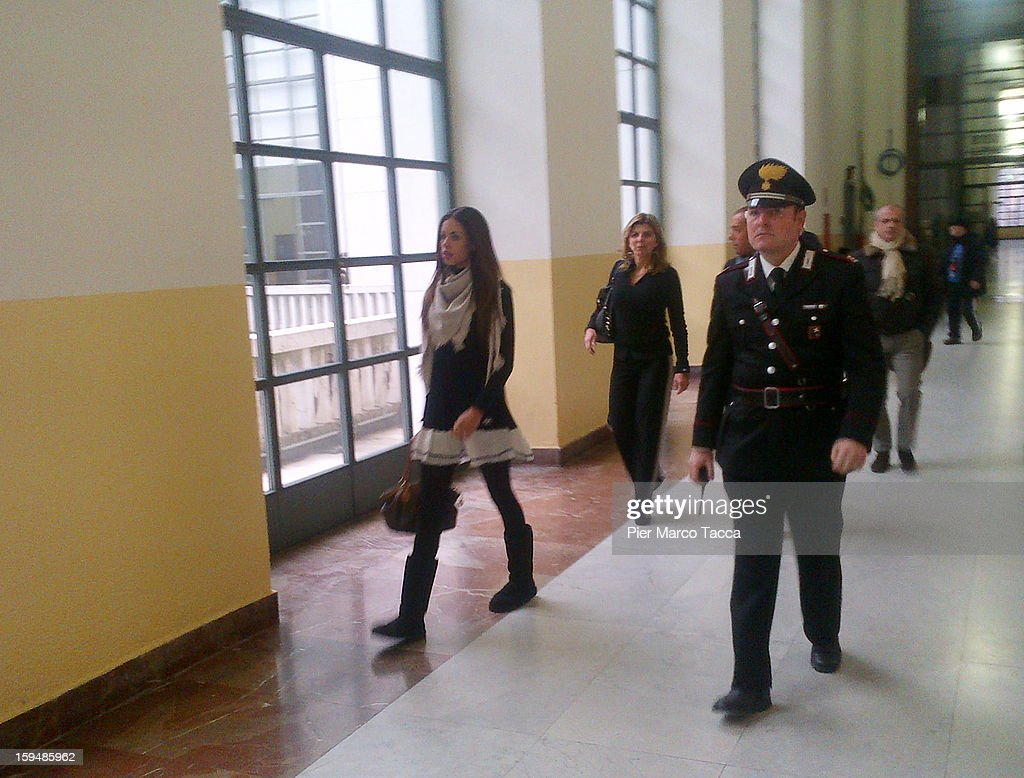 Karima El Mahroug (L) arrives to testify at Silvio Berlusconi trial on January 14, 2013 in Milan, Italy. The Moroccan dancer is the key witness in Silvio Berlusconi's sex trial, as Berlusconi pursues his political campaign for next parliamentary election.