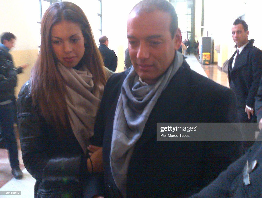 Karima El Mahroug arrives with Sergio Corsaro to testify at Silvio Berlusconi trial on January 14 2013 in Milan Italy The Moroccan dancer is the key...